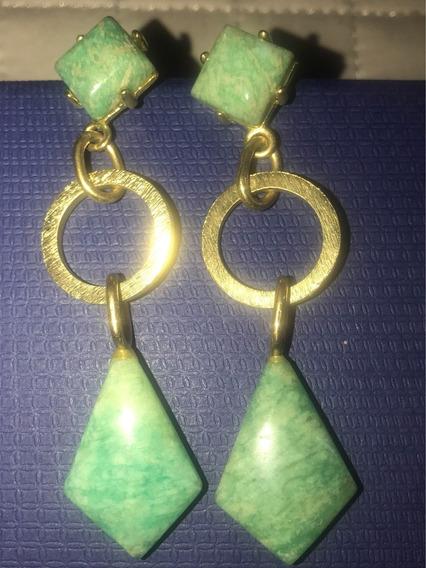 Brinco Dourado Pedra Quartzo Verde Longo Usado Semijoia