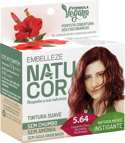 Tinta De Cabelo Natucor Naturalmente Instigante Hibisco Castanho Claro Vermelho Acobreado 5.64 Kit Economico