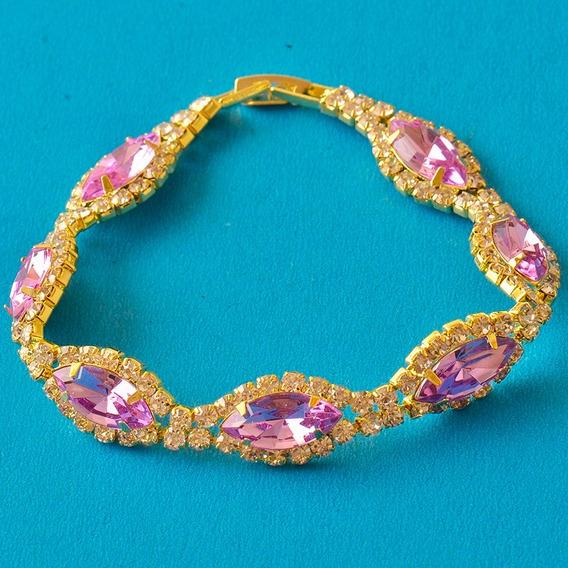 Brazalete De Zirconias Purpuras Oro Chapa De 9k