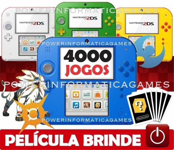 2ds + 4000 Jogos Nintendo + 64gb Classe 10 + Fonte + Brinde