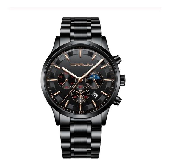 Relógio Masculino Crrju Aço Inoxidável Social Mega Promoção
