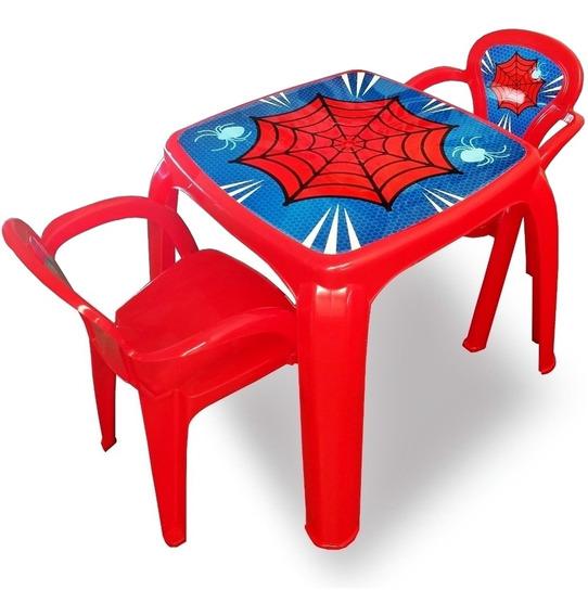 Mesa Mesinha Infantil Com 2 Cadeiras Homem Aranha Menino