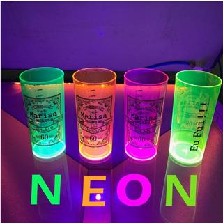 100 Copos Longdrink 320ml Neon Personalizados Frent/verso