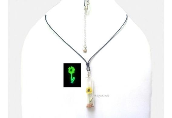 Colar Mini Girassol Florescente,nome Grão De Arroz,neon,sol