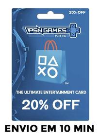 Playstation Network Store Psn 20% Desconto - Código Usa/ca