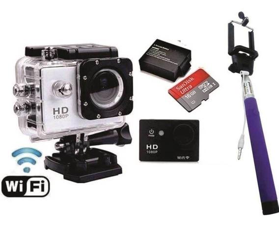 Sports Cam Wifi Prova Dagua X4000 + 16gb + Kit Bateria Extra