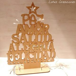 Pino Deseos Navidad 40cm Alto-corte Láser-