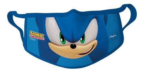 Imagem 1 de 1 de Kit 3 Máscaras De Tecido Lavável Sonic Infantil Oficial Pp