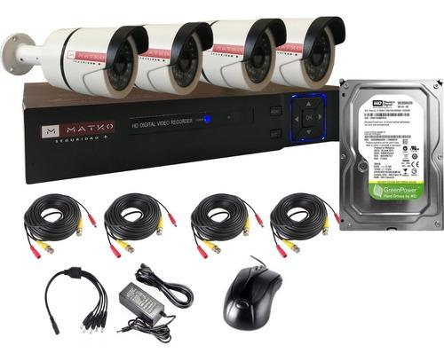 Camara Seguridad Kit 4 Full Hd 2mp 8ch Disco Matko Seguridad