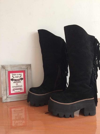 Oferta! Botas Caña Alta Color Negro Con Flecos