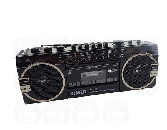 Radio Toca Fitas K7 Retro Anos 80 Conexão Pendrive + Cartão
