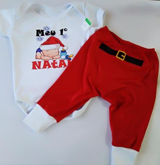 Body Infantil Meu Primeiro Natal + Calça Saruel Baby