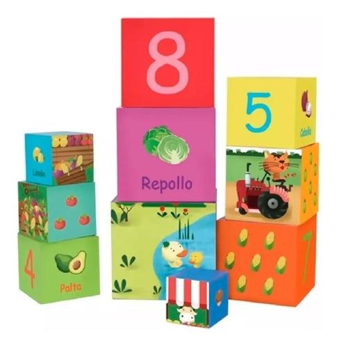 Cubos Apilables 10 Números Y Vegetales Classic World