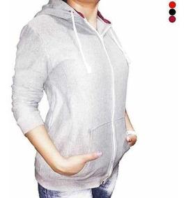 Blusa De Frio Feminina Lisa Com Zíper Capuz E Cordão Moleton