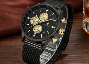 Relógio Masculino Social Fino Luxo Wwoor Pulseira Aço Inox!