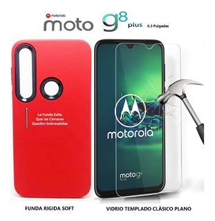 Funda Protege Cámara + Templado Plano Motorola Moto G8 Plus