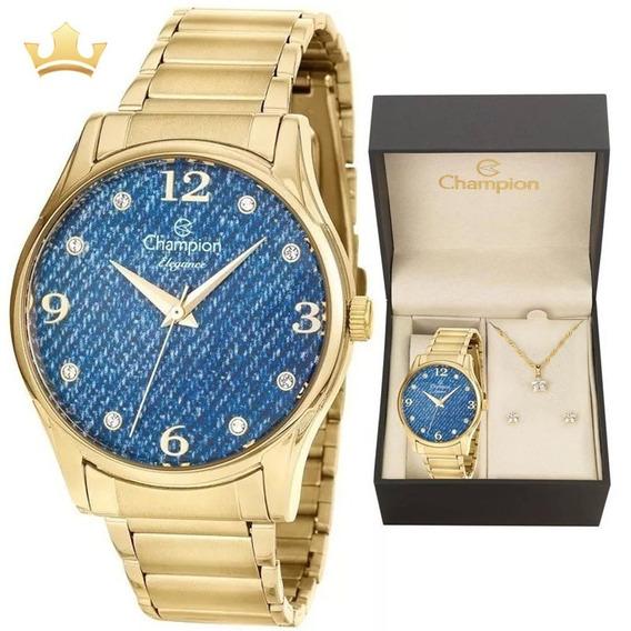 Relógio Champion Feminino Kit Cn26975k Com Nf
