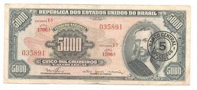 C123* - Cédula 5 Mil Cruzeiros / 5 Cruzeiros Novos - Mbc+++