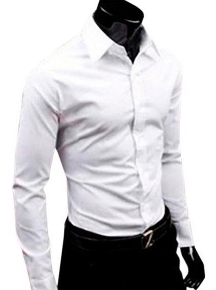 Camisa Social Slim Lisa Para Usar Com Terno Gravata Ou Jeans