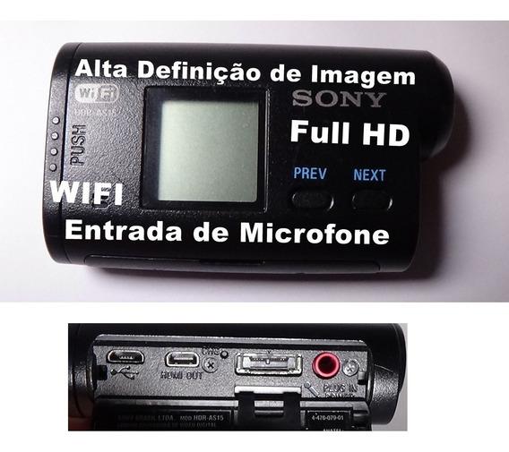 Filmadora De Ação Sony Hdr-as15 Full Hd Wifi Entrada Microf