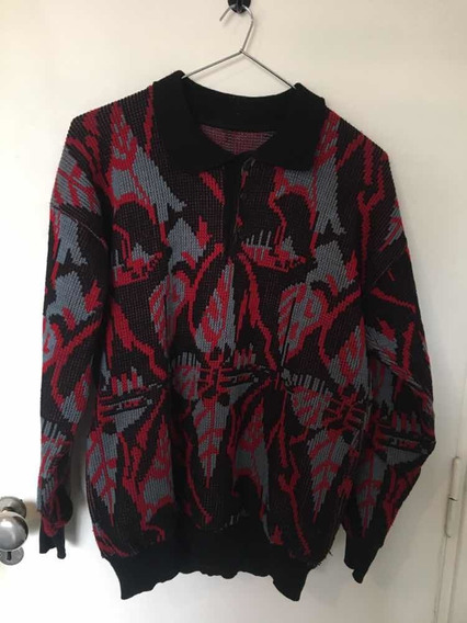 Vendo Sweater Retro Vintage Hojas Rojas Y Negras