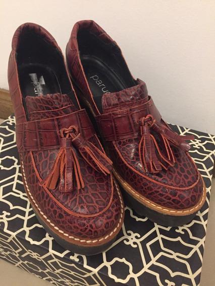 Zapato Tipo Mocasín Con Plataforma Paruolo Talle 37 Usado