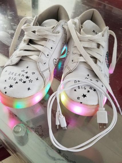 Zapatillas De Cuero Blanca Rapsodia Con Luces