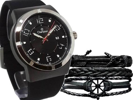 Relógio Champion Masculino Analógico Ca31597p + Pulseira