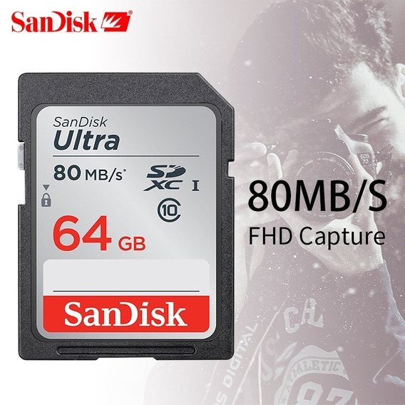 Cartão Sd 64gb Sandisk Ultra Classe 10 80mb Embalagem Aberta
