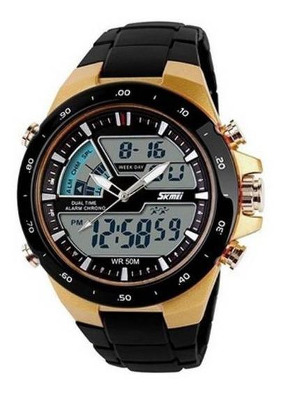 Relógio Masculino Skmei Anadigi 1016 Preto E Dourado