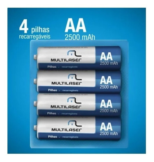 Pilhas Recarregáveis Multilaser Aa 2500mah 4 Unidades Cb052