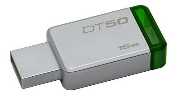 Pendrive Kingston Datatraveler 50 16 Gb - Prata/verde