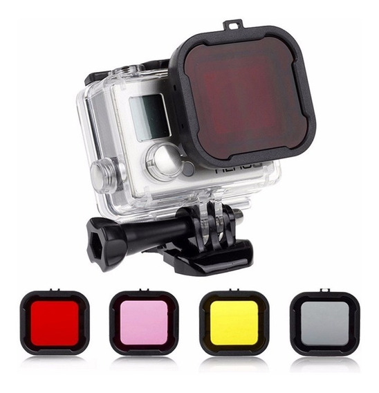 Kit Filtro Uv P/ Lente Gopro Hd Hero 3+ 4 C/ 4 Cores