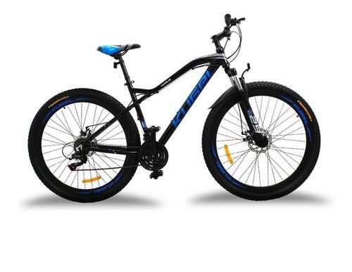 Imagen 1 de 1 de Mountain bike Kugel Ciclismo Horus  2021 R29 L 21v frenos de disco mecánico cambios Shimano Tourney color negro/azul con pie de apoyo
