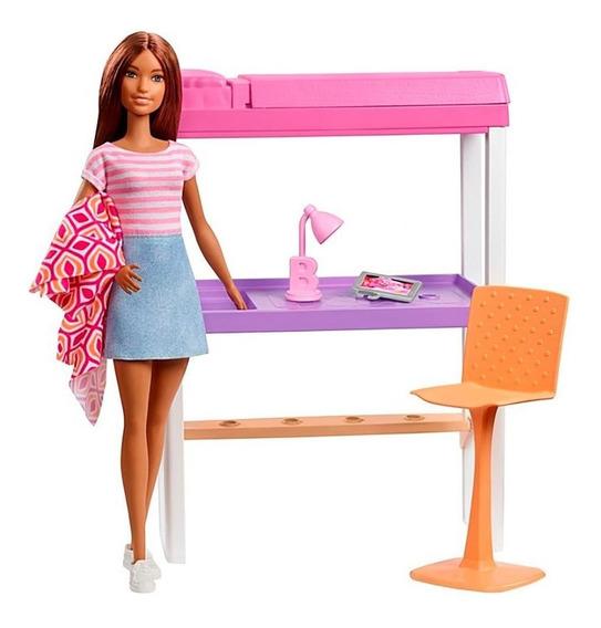 Barbie Playset Quarto E Escritório Com Barbie Morena Mattel