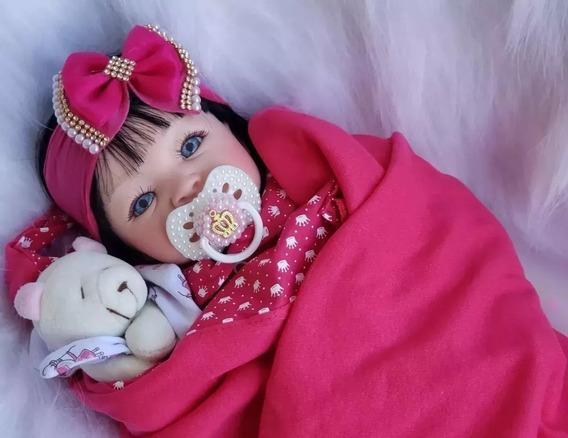 Boneca Reborn Real Parece Bebê De Verdade Com Kit Enxoval