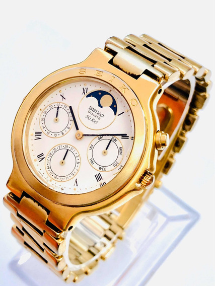 Relógio Pulso Seiko Vintage Sq100 Quartz Fases Da Lua 7f38a