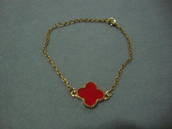 Pulseira Bracelete-trevo Sorte-vermelho-jamano-folhado-7cm
