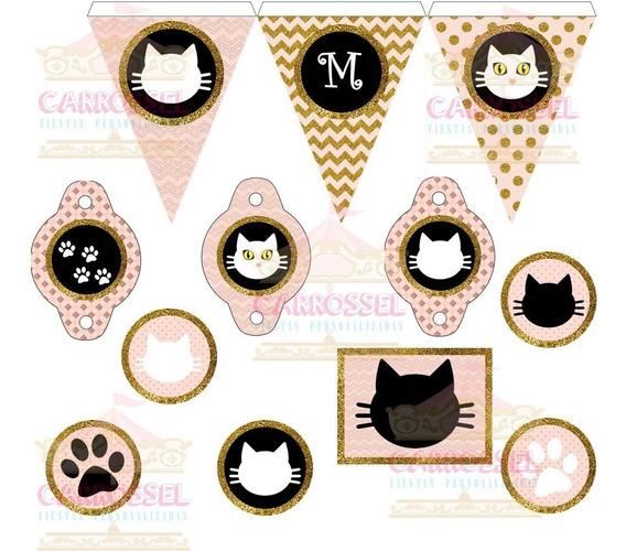 Kit Digital Gato Gatito Rosa Negro Y Dorado