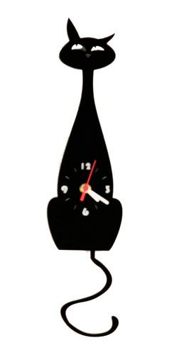 Imagem 1 de 6 de Relógio Parede Pêndulo Gato Mdf Preto Balança O Rabo