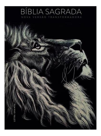 Bíblia Sagrada Nvt Lion Leão Letra Grande Capa Preta Dura