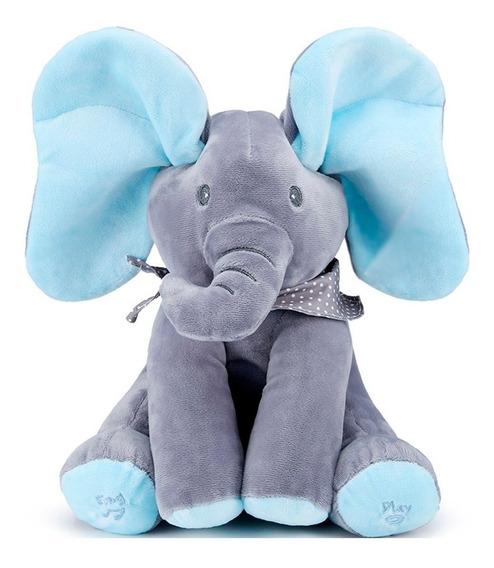 Peek A Boo Elefante Musical Pelúcia Canta Mexe Orelhas Azul
