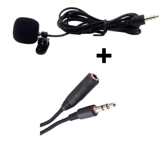 Microfone Lapela P/celular Smartphones Androids + Extensor