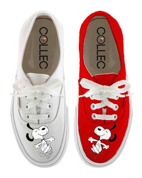 Zapatos Dama Classic Snoopy Happy Pintados A Mano