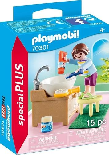 Imagen 1 de 7 de Playmobil Niña Hora De Lavado De Dientes Special Plus 70301
