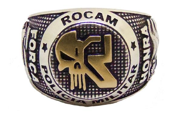 Anel Rocam - Pmesp - Modelo 2 - Prata Com Ouro Maciço