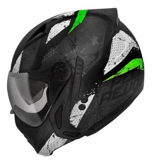 Capacete Moto Peels Mirage Revo C/ Óculos Sol Aviador Custom - Preto Fosco Laranja Vermelho Verde Branco