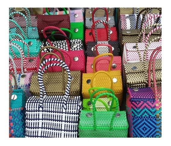 Mayoreo 12 Bolsas Artesanal De Plástico Lonchera Mediana 30x20