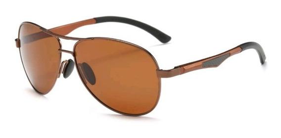 Óculos De Sol Masculino Aviador 100% Lentes Polarizado