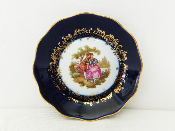 Plato De Porcelana Limoges Cobalto Con Escena De 10 Cm